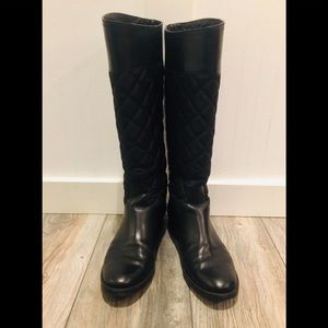TORY BURCH Black Quilted Fabric and Leather Boots